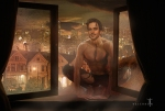 Reuben in the Window.  ©Valeron.  Image features Matt Bomer, Anne Rice's preferred casting choice for ReubenGolding.